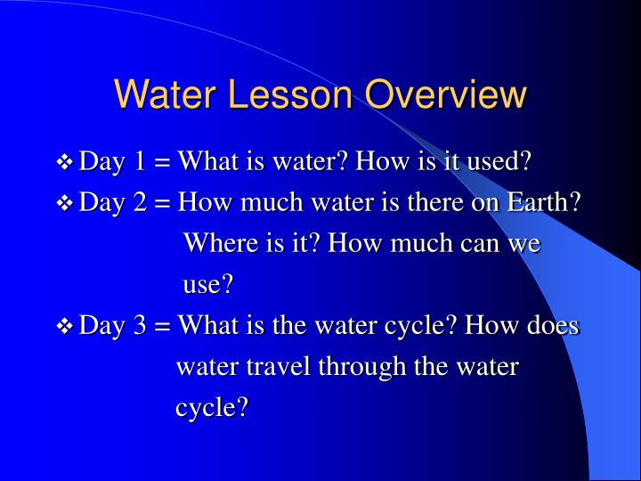Water Lesson Overview