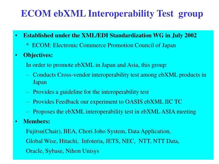 ECOM ebXML Interoperability Test  group