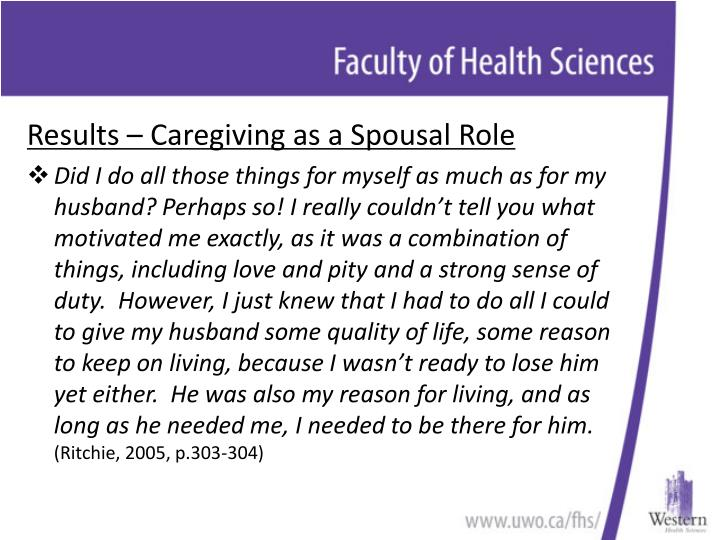 Results – Caregiving as a Spousal Role