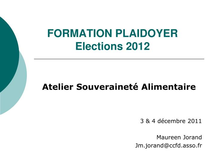 Formation plaidoyer elections 2012