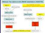 methods two options to link zbase wakefields to headtail