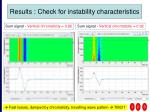 results check for instability characteristics