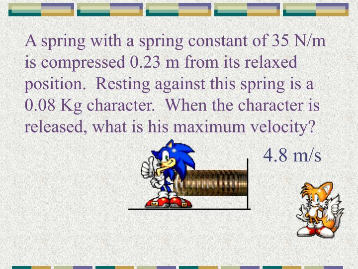 A spring with a spring constant of 35 N/m