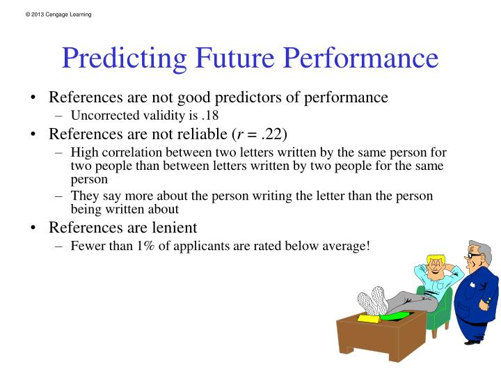 References are not good predictors of performance