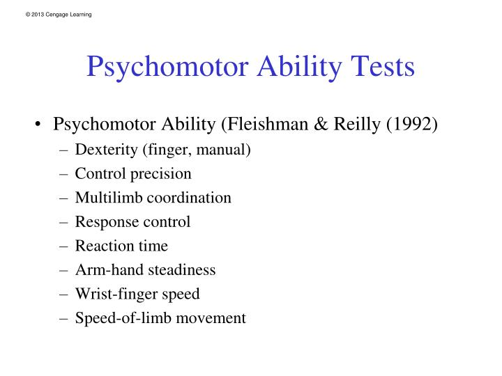 Psychomotor Ability Tests