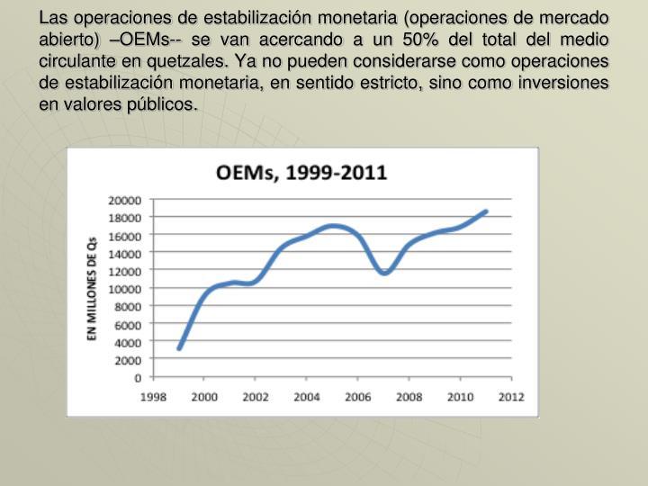 Las operaciones de estabilización monetaria (operaciones de mercado abierto) –OEMs-- se van acercando a un 50% del total del medio circulante en quetzales. Ya no pueden considerarse como operaciones de estabilización monetaria, en sentido estricto, sino como inversiones en valores públicos.