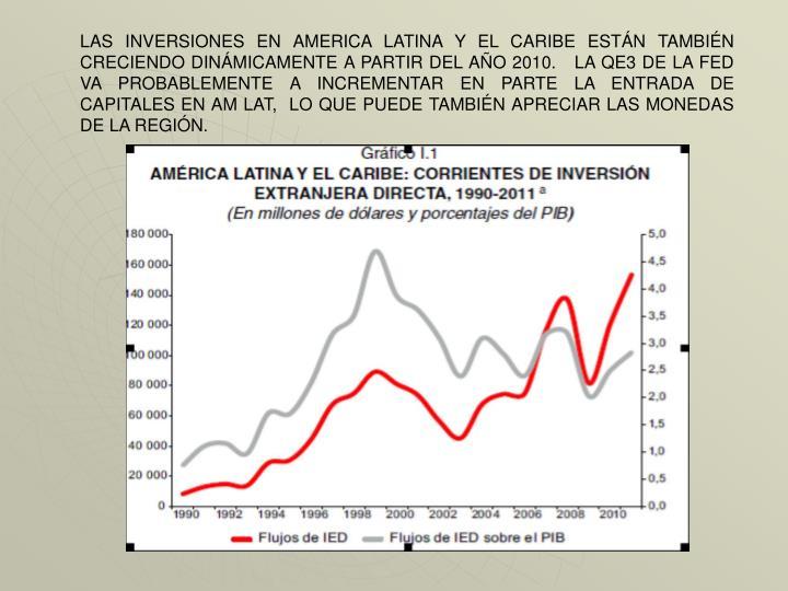 LAS INVERSIONES EN AMERICA LATINA Y EL CARIBE ESTÁN TAMBIÉN CRECIENDO DINÁMICAMENTE A PARTIR DEL AÑO 2010.   LA QE3 DE LA FED VA PROBABLEMENTE A INCREMENTAR EN PARTE LA ENTRADA DE CAPITALES EN AM LAT,  LO QUE PUEDE TAMBIÉN APRECIAR LAS MONEDAS DE LA REGIÓN.