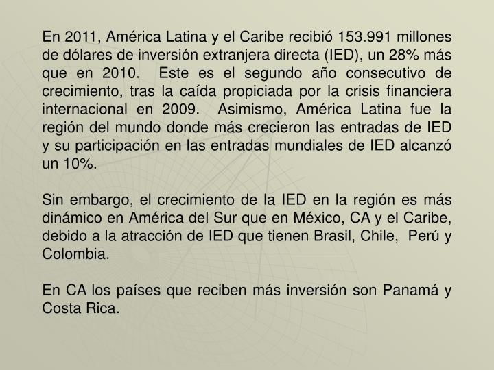 En 2011, América Latina y el Caribe recibió 153.991 millones de dólares de inversión extranjera directa (IED), un 28% más que en 2010.  Este es el segundo año consecutivo de crecimiento, tras la caída propiciada por la crisis financiera internacional en 2009.  Asimismo, América Latina fue la región del mundo donde más crecieron las entradas de IED y su participación en las entradas mundiales de IED alcanzó un 10%.
