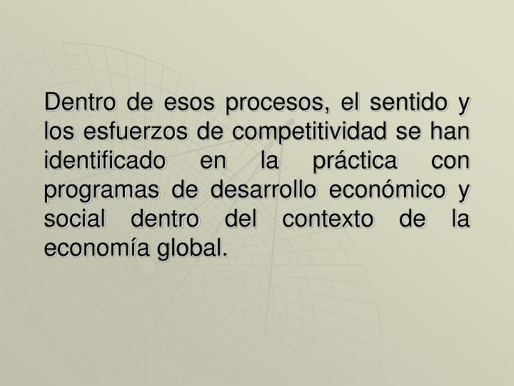 Dentro de esos procesos, el sentido y los esfuerzos de competitividad se han identificado en la práctica con programas de desarrollo económico y social dentro del contexto de la economía global