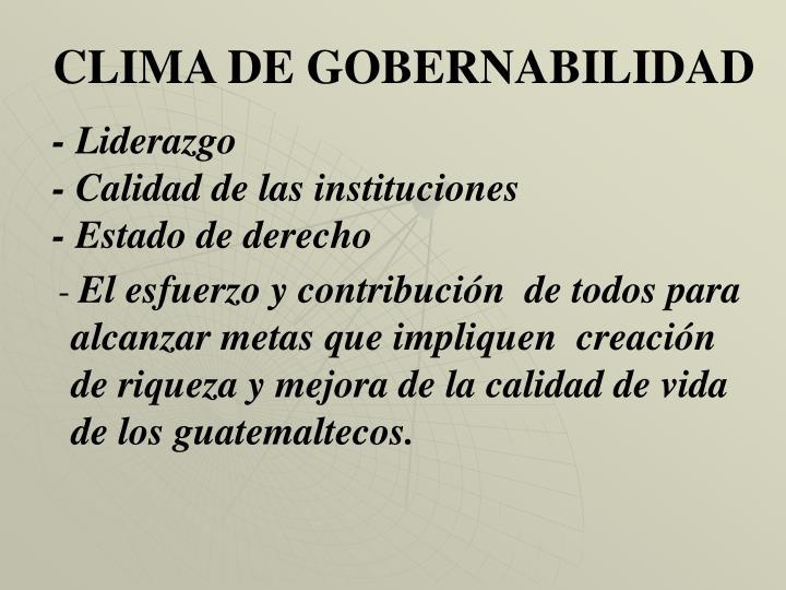 CLIMA DE GOBERNABILIDAD