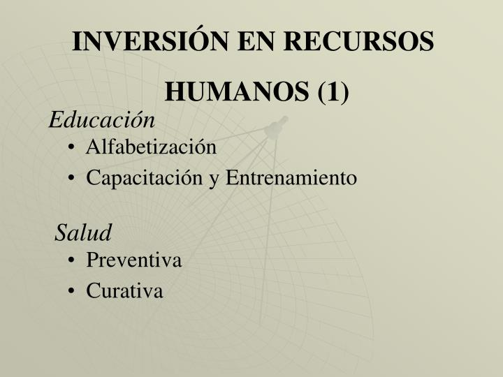 INVERSIÓN EN RECURSOS