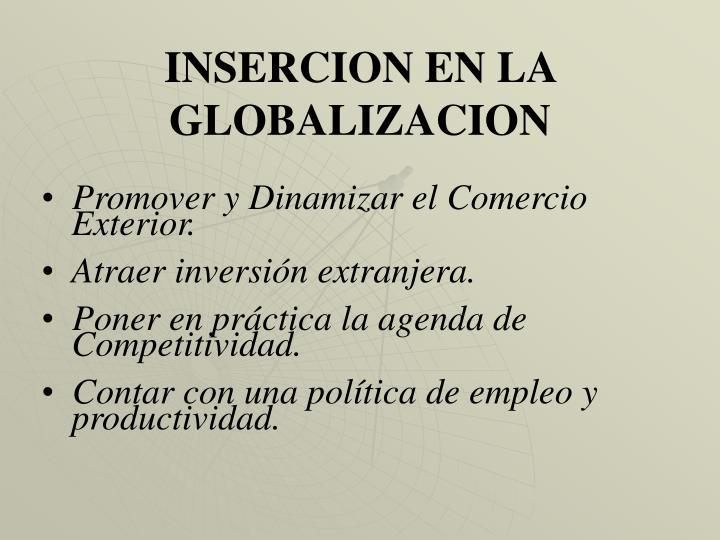 INSERCION EN LA GLOBALIZACION