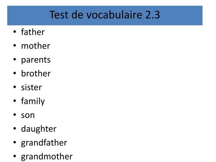 Test de vocabulaire 2.3
