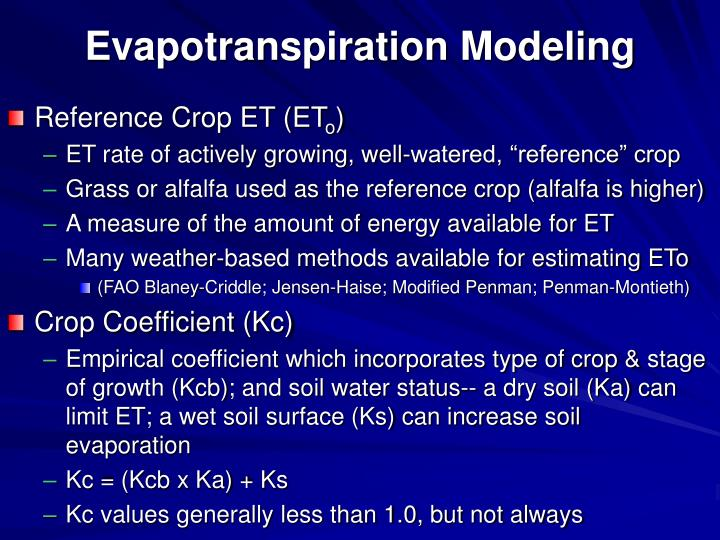 Evapotranspiration Modeling