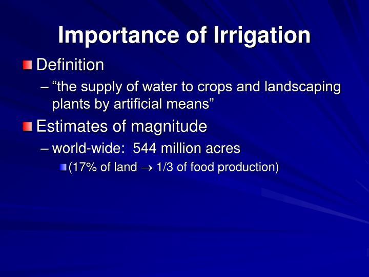 Importance of Irrigation