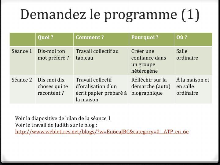 Demandez le programme (1)