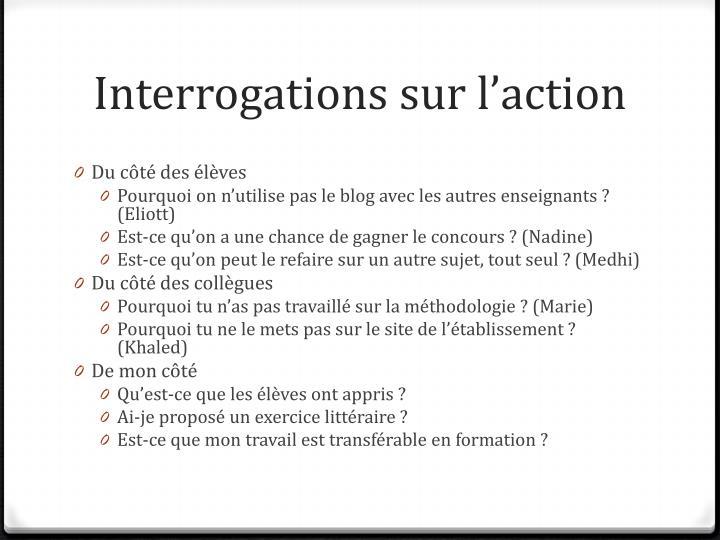 Interrogations sur l'action
