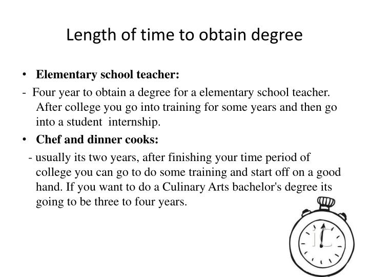 Length of time to obtain degree