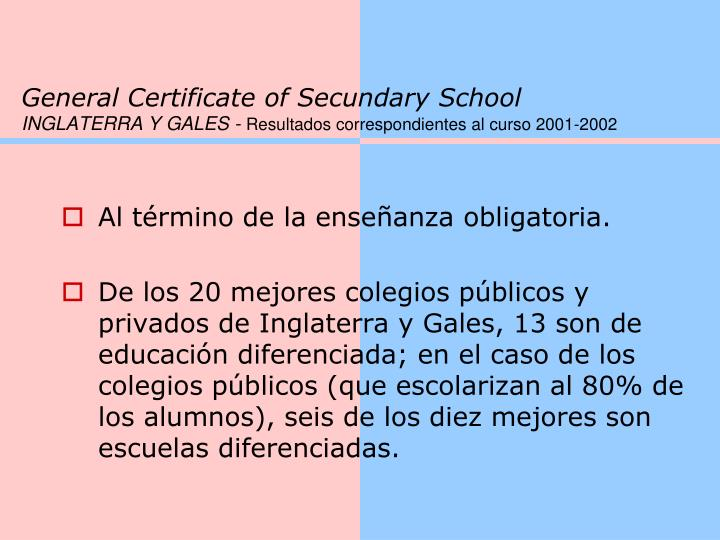 General Certificate of Secundary School