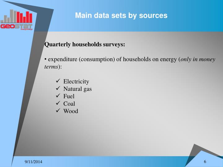 Main data sets by sources