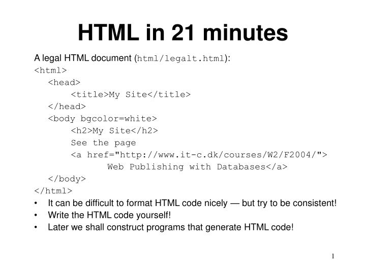 Html in 21 minutes