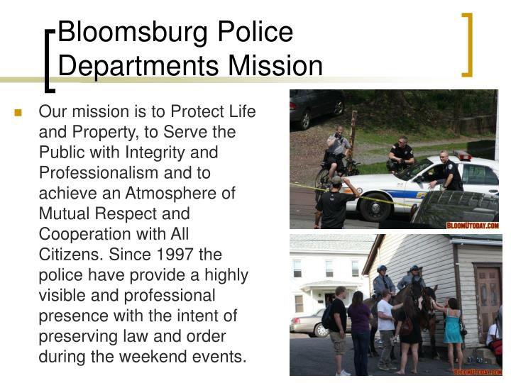 Bloomsburg Police Departments Mission