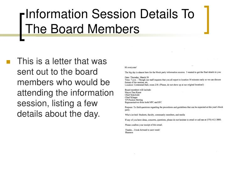 Information Session Details To The Board Members