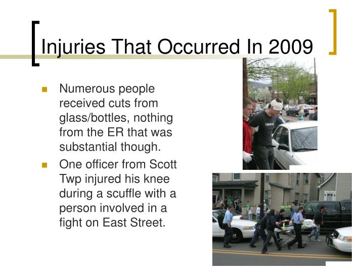 Injuries That Occurred In 2009