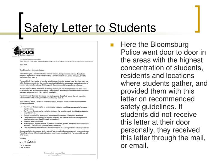 Safety Letter to Students