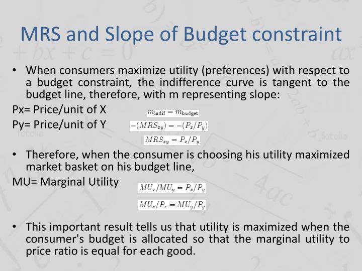 MRS and Slope of Budget constraint