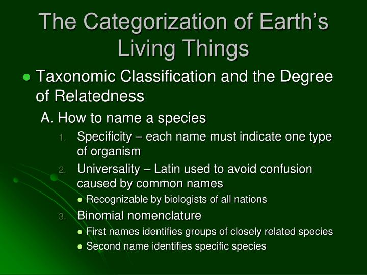 The Categorization of Earth's Living Things