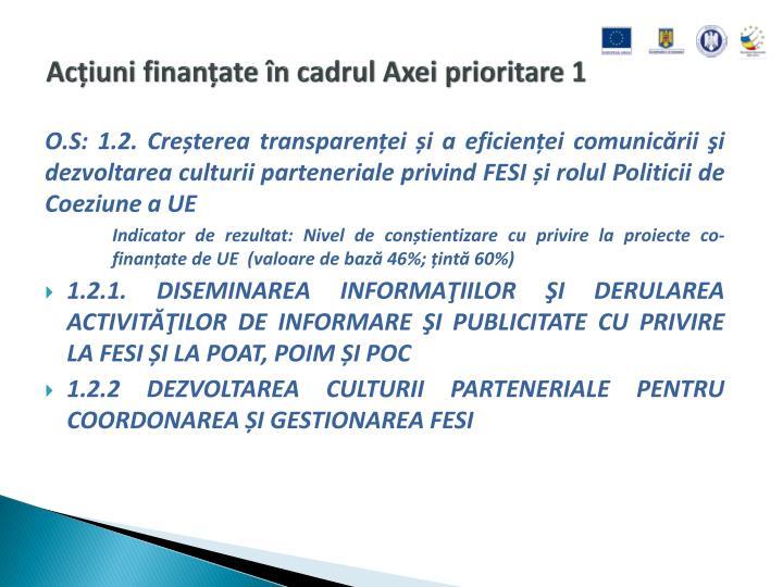 Acțiuni finanțate în cadrul Axei prioritare 1