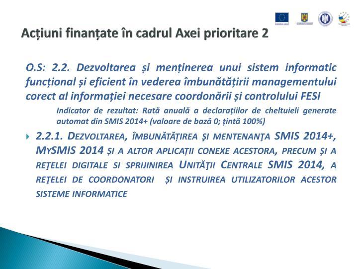 Acțiuni finanțate în cadrul Axei prioritare 2