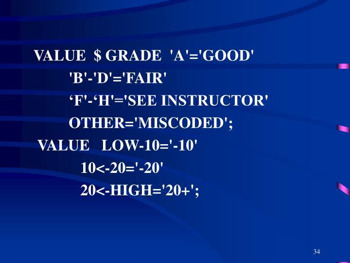 VALUE  $ GRADE  'A'='GOOD'