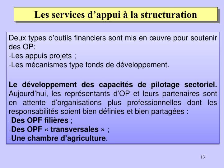 Les services d'appui à la structuration