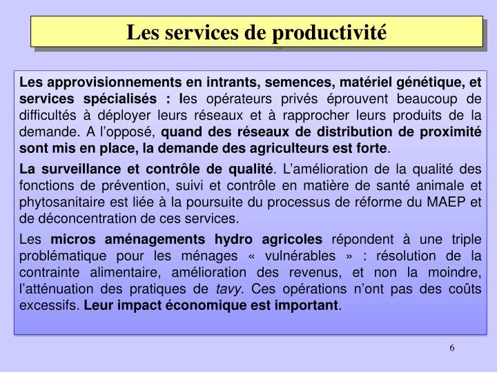 Les services de productivité