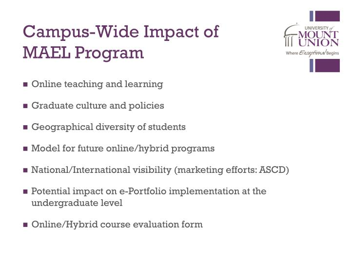 Campus-Wide Impact of MAEL Program
