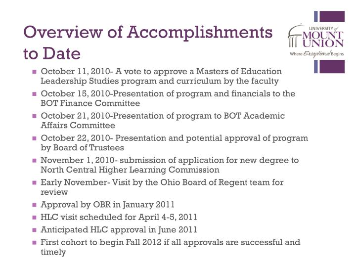 Overview of Accomplishments to Date