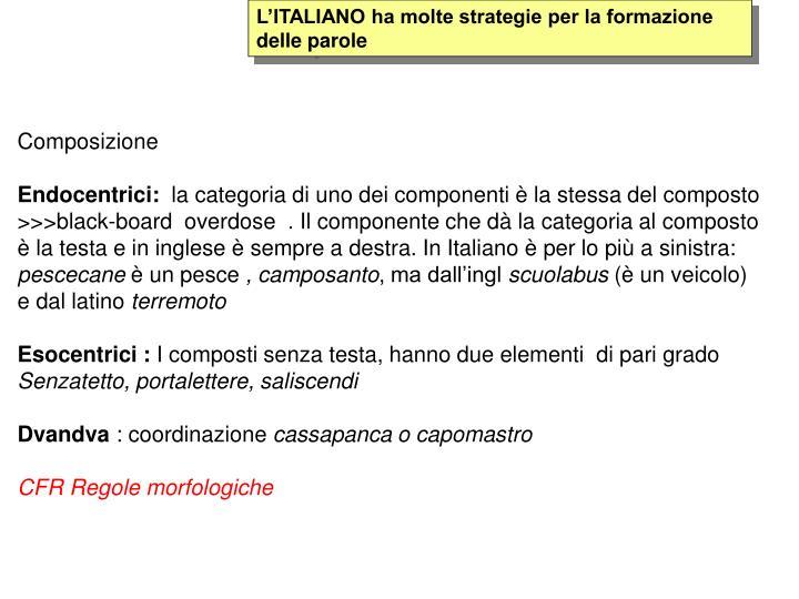 L'ITALIANO ha molte strategie per la formazione delle parole