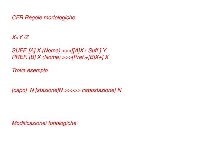 CFR Regole morfologiche