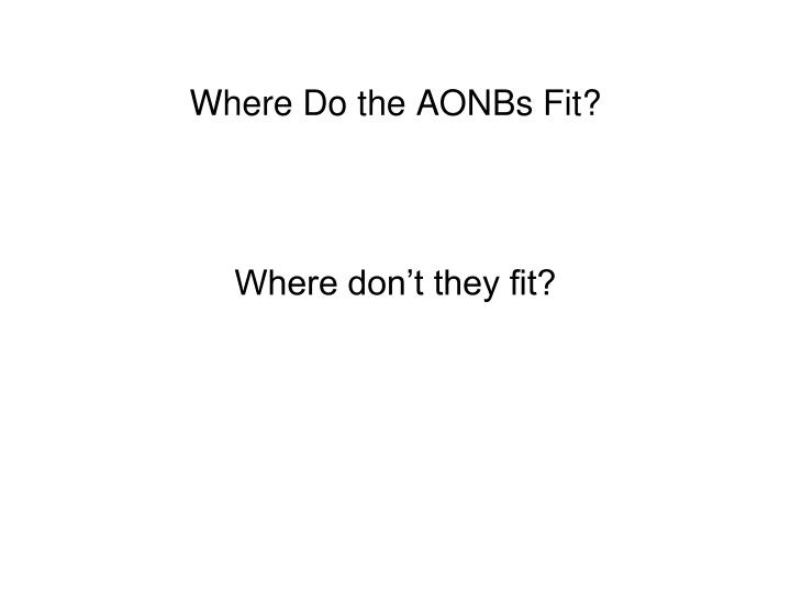 Where Do the AONBs Fit?