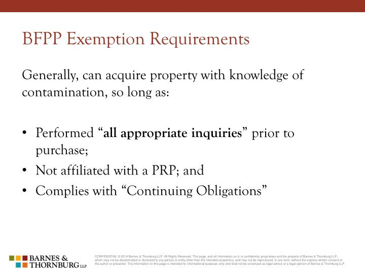 BFPP Exemption Requirements