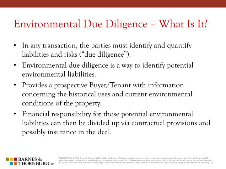 Environmental due diligence what is it