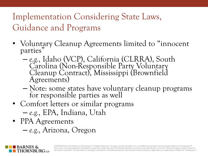 Implementation Considering State Laws, Guidance and Programs