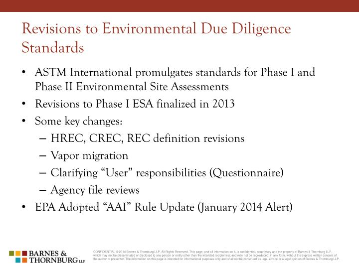 Revisions to Environmental Due Diligence Standards
