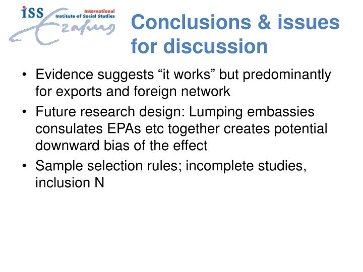 Conclusions & issues for discussion