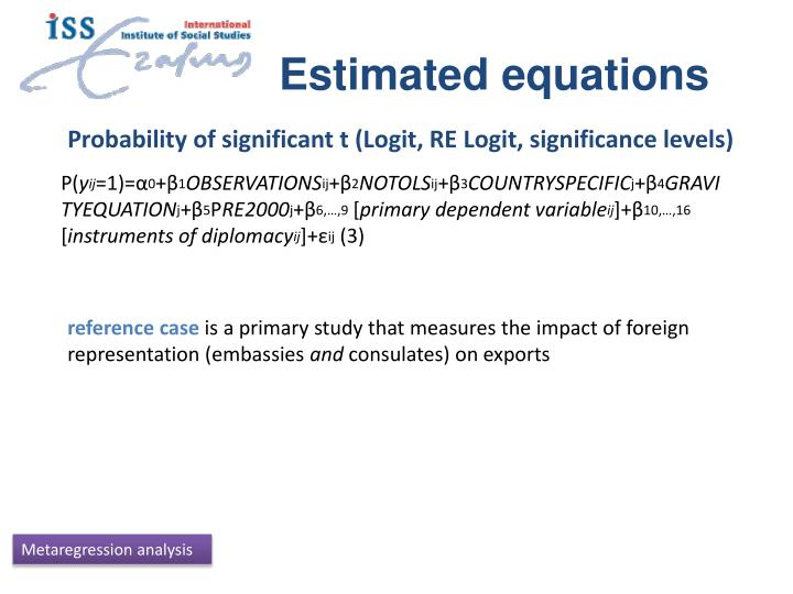 Estimated equations