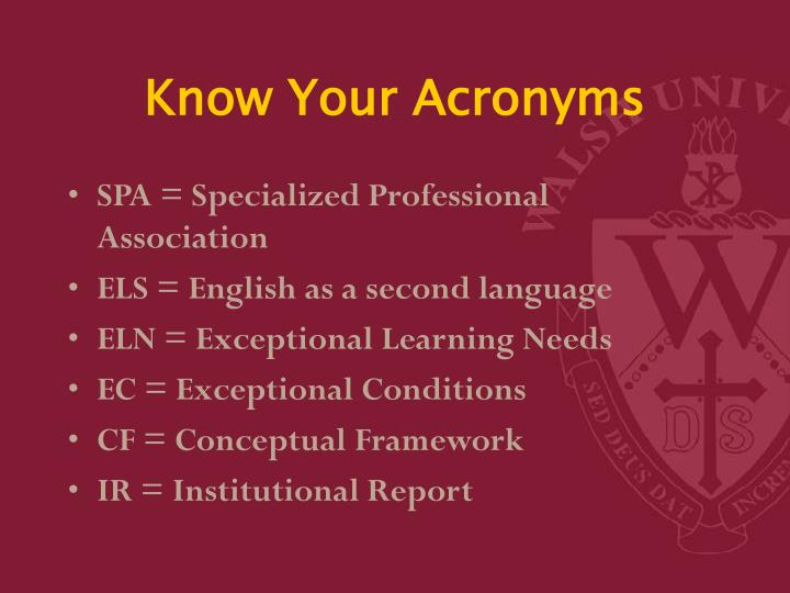 Know Your Acronyms