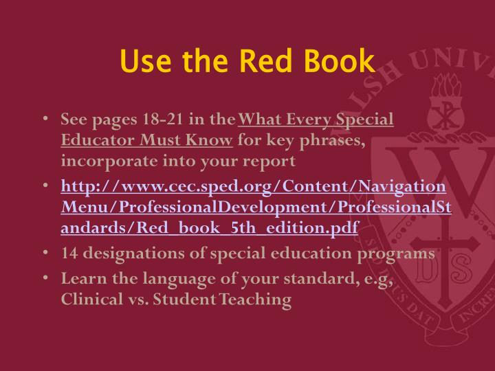 Use the Red Book
