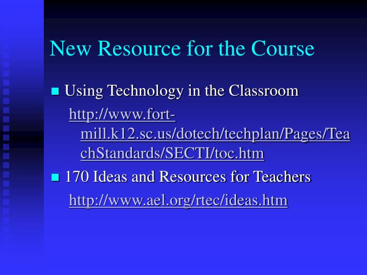 New Resource for the Course